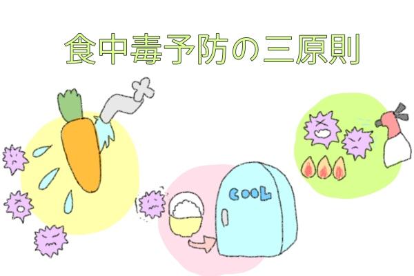 食中毒予防の三原則(減らす・増やさない・殺菌)
